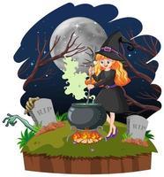 giovane bella strega con pentola di magia nera