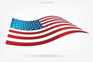 bandiera americana galleggiante su bianco vettore
