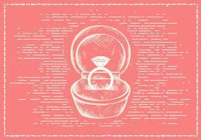 Fondo disegnato a mano libero di vettore dell'anello dei biglietti di S. Valentino