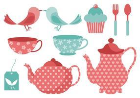 Illustrazione di vettore di elementi di tempo di tè gratis