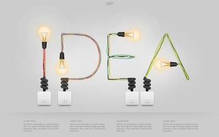 testo idea fatto di fili colorati e lampadine vettore