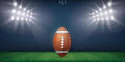 stadio di campo di football americano con luci