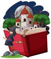 strega e torre del castello con libro pop-up