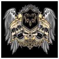 teschi grunge con ali d'angelo ed emblema vettore