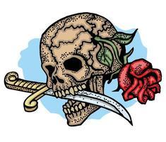 teschio colorato tatuaggio con rosa e pugnale