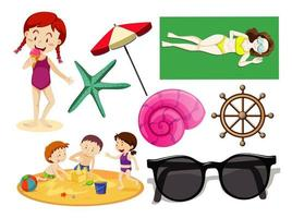 set di icona spiaggia estiva e stile cartone animato per bambini vettore