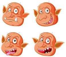 set di espressioni facciali di goblin o troll arancioni