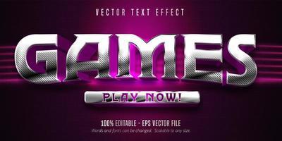 effetto di testo modificabile argento stile giochi