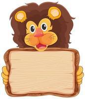 modello di scheda con leone su bianco