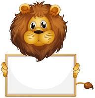 modello di segno in bianco con leone su bianco