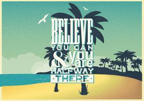poster ispiratore sulla spiaggia vettore