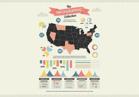 Mappa degli Stati Uniti infografica vettoriale