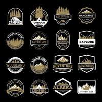 set di badge avventura oro e bianco vettore