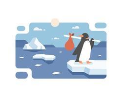 pinguino che migra a causa del riscaldamento globale