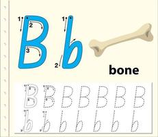 foglio di lavoro alfabeto tracciamento lettera b con osso vettore