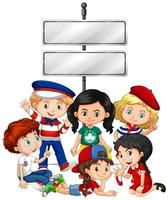 modello di banner design con bambini e segno