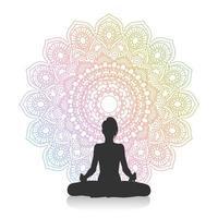 silhouette di donna in posa yoga vettore