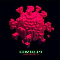 cellula isometrica di coronavirus 3d