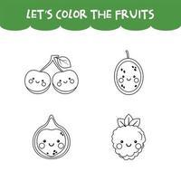 gioco da colorare frutti kawaii