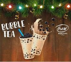 Bubble tea pubblicità a tema natalizio vettore