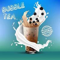 schizzi di latte intorno al tè a bolle su gradiente verde blu vettore