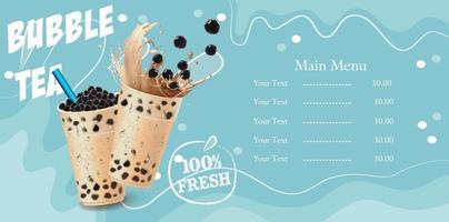 disegno del menu delle tazze di tè della bolla vettore