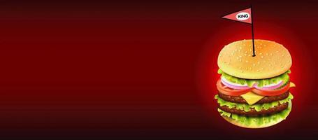 cheeseburger con bandiera sul gradiente rosso