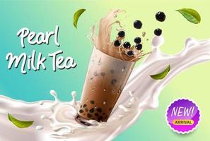 tè al latte perlato in splash con pubblicità di foglie vettore