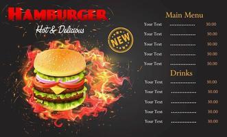 modello di menu hamburger fiammeggiante vettore
