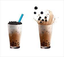 set di bicchieri da tè con bolle di latte realistico vettore