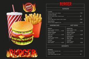 modello di menu gustoso hamburger fast food