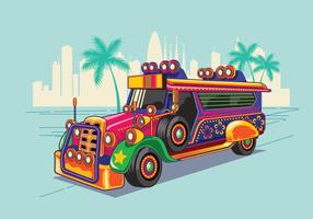 Illustrazione vettoriale jeep filippino o jeepney