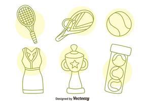 Vettore disegnato a mano delle icone di tennis