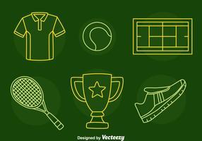 vettore di icone di linea di tennis