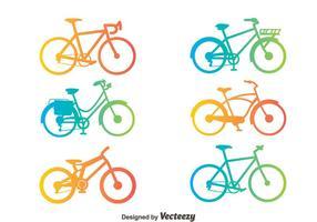 Insieme di vettore della siluetta della bicicletta di pendenza