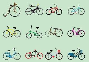 Insieme di vari tipi di biciclette vettore