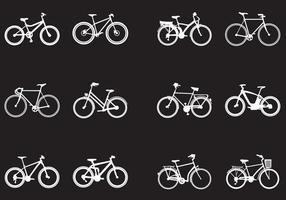 Silhouette Di Vari Tipi Di Biciclette vettore