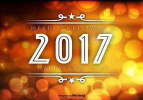 Fondo arancio di vettore di Bokeh del buon anno 2017