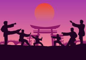 Formazione di gruppo Wushu vettore