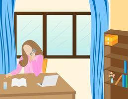 donna che lavora facendo chiamate in conferenza a casa vettore