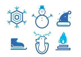 Set di icone invernali vettore