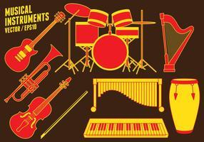 Icone di strumenti musicali vettore