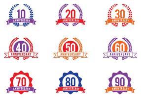 Emblemi di celebrazione di anniversario vettore