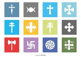 Collezione di icone simbolo di religione vettore