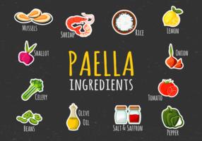 Illustrazione degli ingredienti di paella vettore
