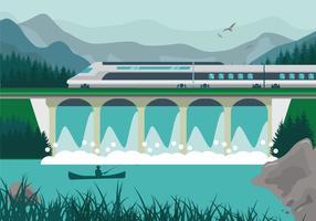 Ilustration del lanscape del treno della città del TGV della ferrovia ad alta velocità vettore