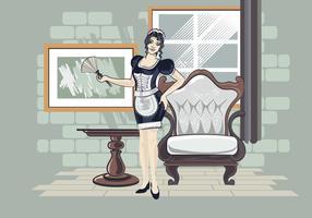 Illustrazione vettoriale di donna in costume classico vestito da cameriera