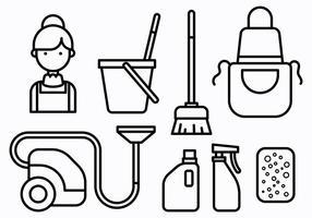 Vettore francese delle icone della domestica