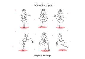 vettore di cameriera francese cartone animato gratis
