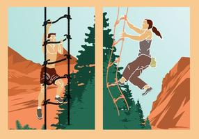 Azione rampicanti di vettore dell'illustrazione di avventura della scala di corda